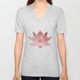 Pink Lotus Flower | Watercolor Texture Unisex V-Neck