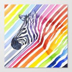 Animal Zebra Rainbow Canvas Print