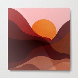 Abstraction_Mountains_SUNSET_Minimalism Metal Print