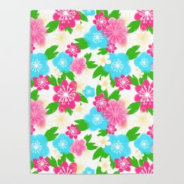 04 Pattern of Watercolor Flowers Poster