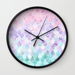 Mermaid Pastel Iridescent Wall Clock