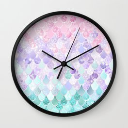 Mermaid Pastel Iridescent Wall Clock