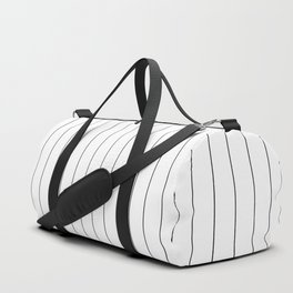White Black Pinstripes Minimalist Duffle Bag