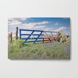 Lone Star Gate With Bluebonnets - Ennis, TX Metal Print