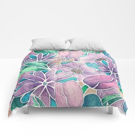 Blossoming - lilac, mint & aqua  Comforters