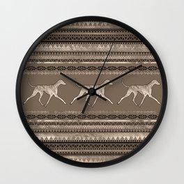 Azawakh Sighthound on African Pattern Wall Clock