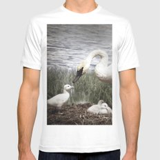 Tom Feiler Swan and her Cygnets Mens Fitted Tee MEDIUM White