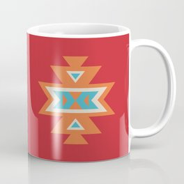 Navajo Aztec Pattern Orange Turquoise on Red Coffee Mug
