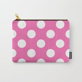 Geometric Candy Dot Circles - White on Strawberry Pink Carry-All Pouch