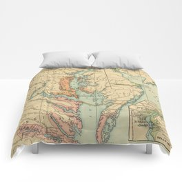 Vintage Virginia and Maryland Colonies Map (1905) Comforters