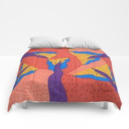 Orange Desert Flowering Abstract Comforters
