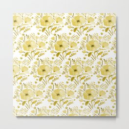 Flower bouquet with poppies - yellow Metal Print