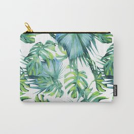 Blue Jungle Leaves, Monstera, Palm #society6 Carry-All Pouch