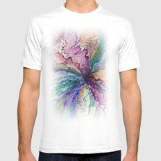 Watercolor Doodle Mens Fitted Tee White MEDIUM