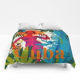 Vintage Caribbean Travel - Cuba Comforters