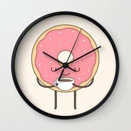donut loves coffee Wall Clock