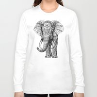 art Long Sleeve T-shirts featuring Ornate Elephant by BIOWORKZ