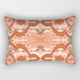 Point of Harmony Tibetan Modern Meditation Print Deep Coral Orange Rectangular Pillow