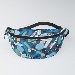 CIRCLES IN MOTION - GREEN/ BLUE brush stroke Fanny Pack