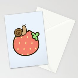 Cute snail on strawberry Stationery Cards