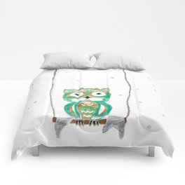 Owl Fun #1 #mint #green #gold #drawing #decor #art #society6 Comforters