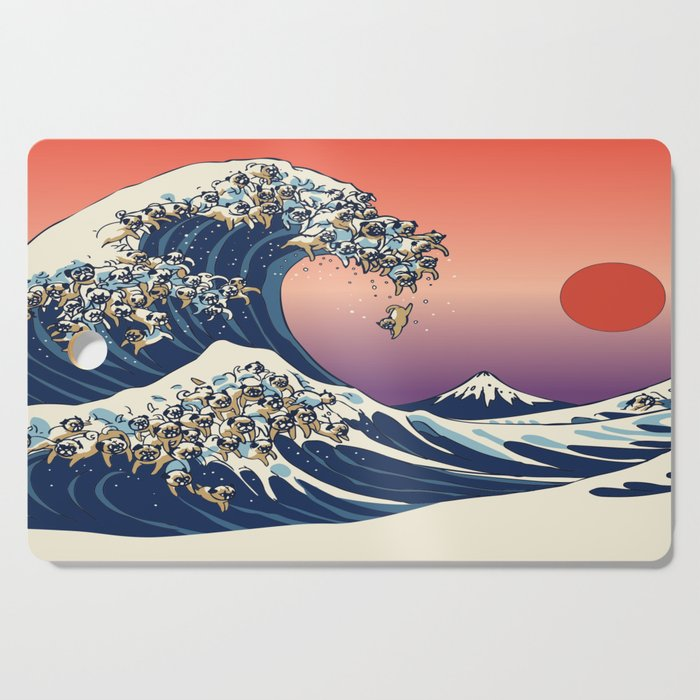 The Great Wave of Pug Cutting Board