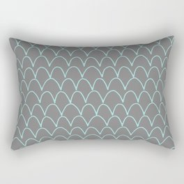 Modern gray teal trendy scallope pattern Rectangular Pillow