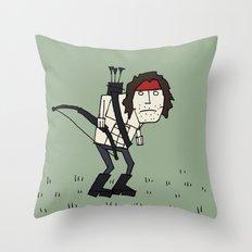 Sad John Rambo In A Field Throw Pillow