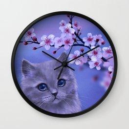 Spring kitten Wall Clock