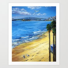 Long Beach Queen Mary with Seaguls  Art Print