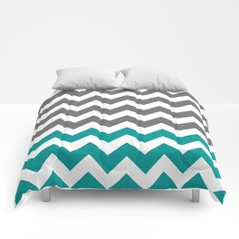 Gray and Teal Zigzags Comforters