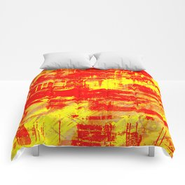 Sunburn - Abstract, yellow, red and orange, textured oil painting Comforters