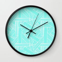 Sketchy Abstract (White & Turquoise Pattern) Wall Clock