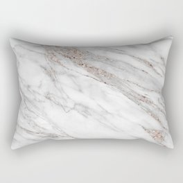 Pink Rose Gold Blush Metallic Glitter Foil on Gray Marble Rectangular Pillow