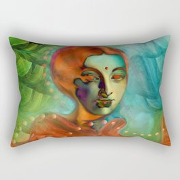 """""""Exotic woman in green and orange tropical jungle"""" Rectangular Pillow"""