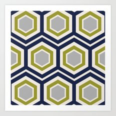 Hexagons and Zigzags Art Print