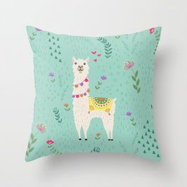 Festive Llama Throw Pillow