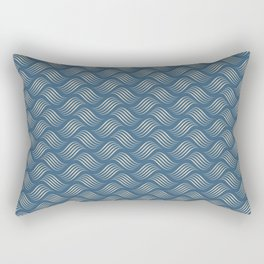 Beige Wavy Tessellation Lines on Dark Tropical Blue Pair To 2020 Color of the Year Chinese Porcelain Rectangular Pillow