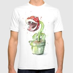 Piranha Plant Art Nintendo Mario Videogame Geek Gaming Mens Fitted Tee White MEDIUM