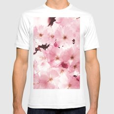 Spring Sky Flora Pattern White MEDIUM Mens Fitted Tee