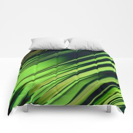 Diagonal Stripes of Green and Black Comforters