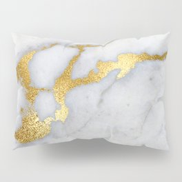 White and Gray Marble and Gold Metal foil Glitter Effect Pillow Sham