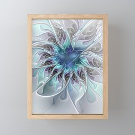 Flourish Abstract, Fantasy Flower Fractal Art Framed Mini Art Print