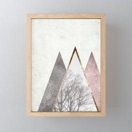 Nordic triangle geometric nature in rose gold Framed Mini Art Print