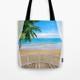 Balcony with a Beach Ocean View Tote Bag