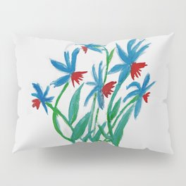 Hand painted watercolor floral blue and red flowers Pillow Sham