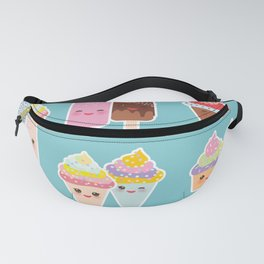 Kawaii cupcakes, ice cream in waffle cones, ice lolly Fanny Pack