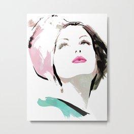Woman with Hat Portrait, Fashion Painting, Fashion IIlustration, Vogue Portrait, Fashion Beauty, #11 Metal Print