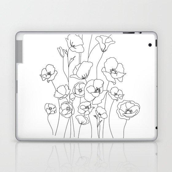 Poppy Flowers Line Art Laptop & iPad Skin