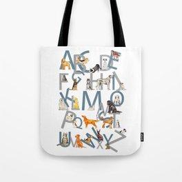 Dog Breed Alphabet Tote Bag